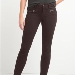 Maroon Jeans with Zipper Detail